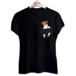 Футболка женская черная с принтом собака в кармане Джек-рассел 1103
